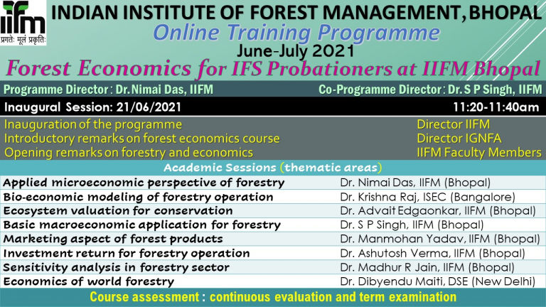 Online Training Programme on Forest Economics for IFS Probationers at IIFM Bhopal