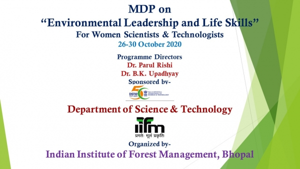 "MDP on  ""Environmental Leadership and Life Skills"""