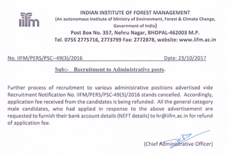 Cancellation of Recruitment Notification